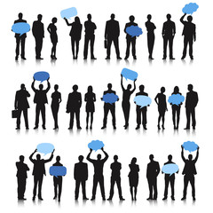 Silhouette of Business People Holding Empty Speech Bubble