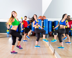 zumba dance cardio people group at fitness gym