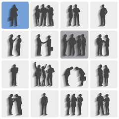 Isolated Groups Of Business People Standing And Working