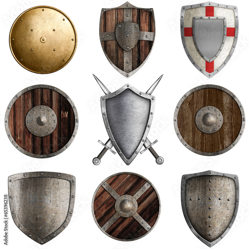 medieval shields collection #3 isolated on white - 65396238