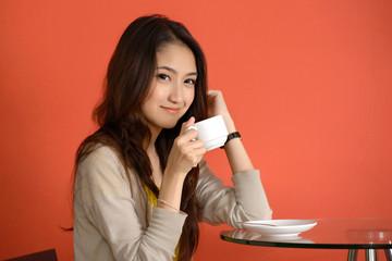 Asian young women cute woman drinking