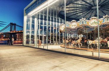 BROOKLYN, NY - JUNE 11, 2013: Historic Jane's Carousel in Brookl