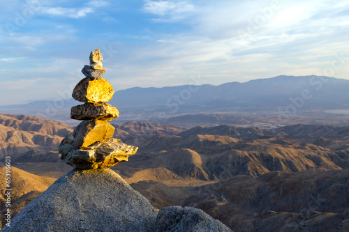 Rock Pyramid in in Sunset Landscape
