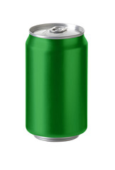Green aluminum cans with blank space for beer, soft drink.