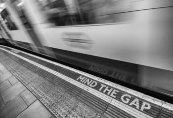 London - Mind the gap sign is ubiquitous inside city underground