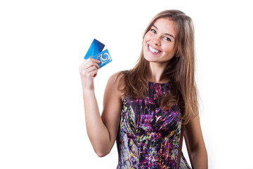 Cheerful woman holding two credit cards