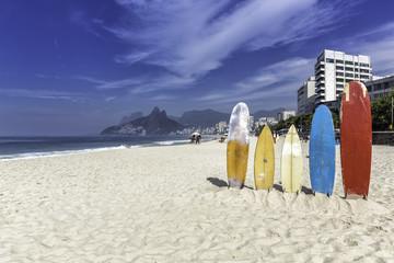 Surfboards on the beach at Ipanema, Rio de Janeiro