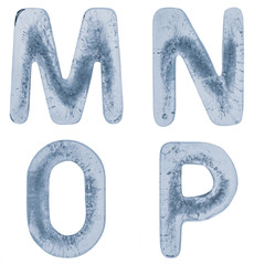 Letters M, N, O and P in ice