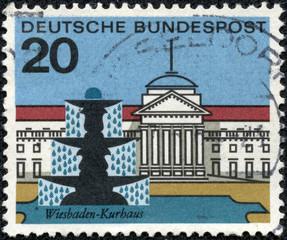stamp printed in Germany shows Wiesbaden, Kurbaus