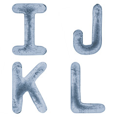 Letters I, J, K and L in ice