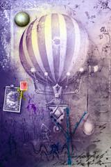 Hot air balloon in grunge background