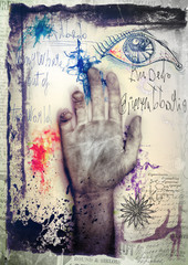 Old graffiti background with hand