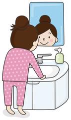 女の子と鏡