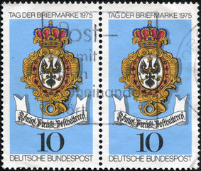 stamp printed in the Germany shows Sign of Royal Prussian Post