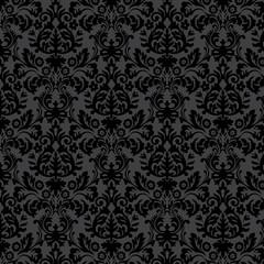 Black damask vintage floral pattern
