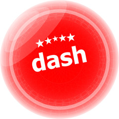dash word red web button, label, icon