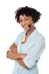 Smiling woman in hands free headset device