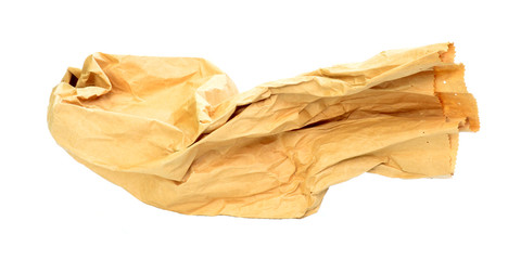 Brown paper bag isolated on whit