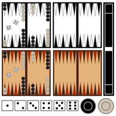 Backgammon game isolated on white