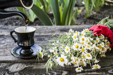 green tea in the garden