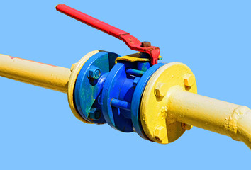 Ball valve on the gas pipeline section.