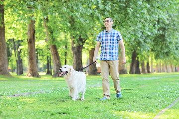 Young man walking his dog in a park