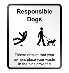 Monochrome comical responsible dog waste