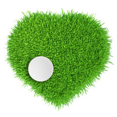 Golf, Fall in love. golf ball. realistic grass