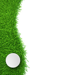 golf ball on grass. realistic grass. close up.