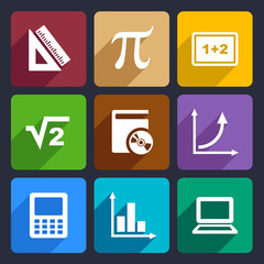 Mathematics Flat Icons Set 52
