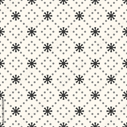 Seamless vector pattern of sun shape and dot