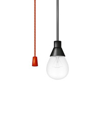 Hanging light bulb with red cord switch