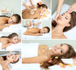 Collage of beautiful young woman in spa salon getting massage