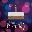 Happy 1st Birthday-Bokeh Vector Background with cake.