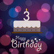 Happy 3rd Birthday - Bokeh Vector Background with cake.