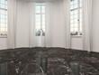 Empty room with marble floor and patio doors