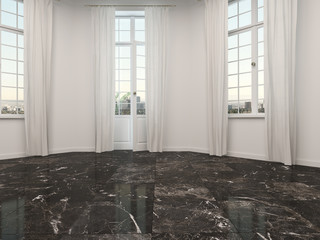Empty room with marble floor and patio doors