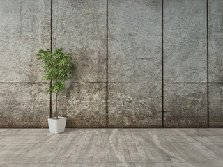 Grunge decor interior with concrete wall