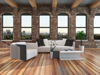 Modern loft style living room interior