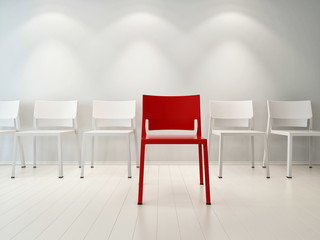 Concept illustration of red and white chairs