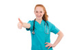 Young medical trainee with stethoscope  thumbing up isolated on