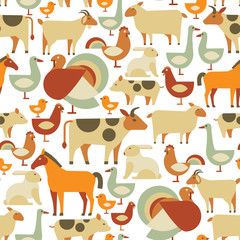 seamless pattern with farm animals