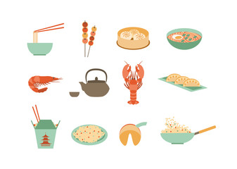 set of flat chinese food icons