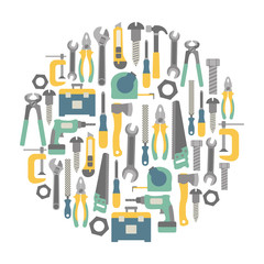 round design element with tools icons