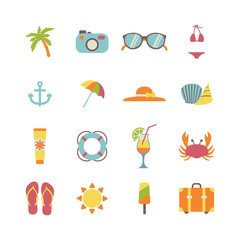 set of beach holiday icons