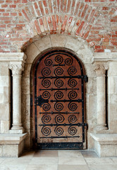 Ancient wooden door. Budapest, Hungary