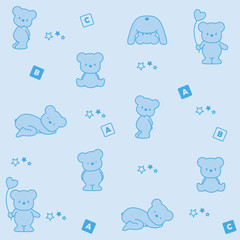 Baby blue background. Funny bears