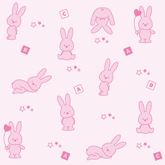 Baby pink background. Funny rabbit