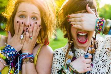 Festival people - young woman with facial expression