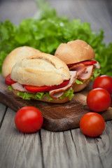 Sandwiches on a wooden background